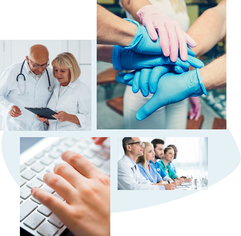 Four images: First image from left to right, one male doctor and one female doctor are looking at a clipboard. Second image is a group of hands doing a huddle (all wearing blue or pink gloves). Third image is someone typing on a keyboard. Fourth image is a group of medical personnel sitting next to each other in a classroom or meeting room.
