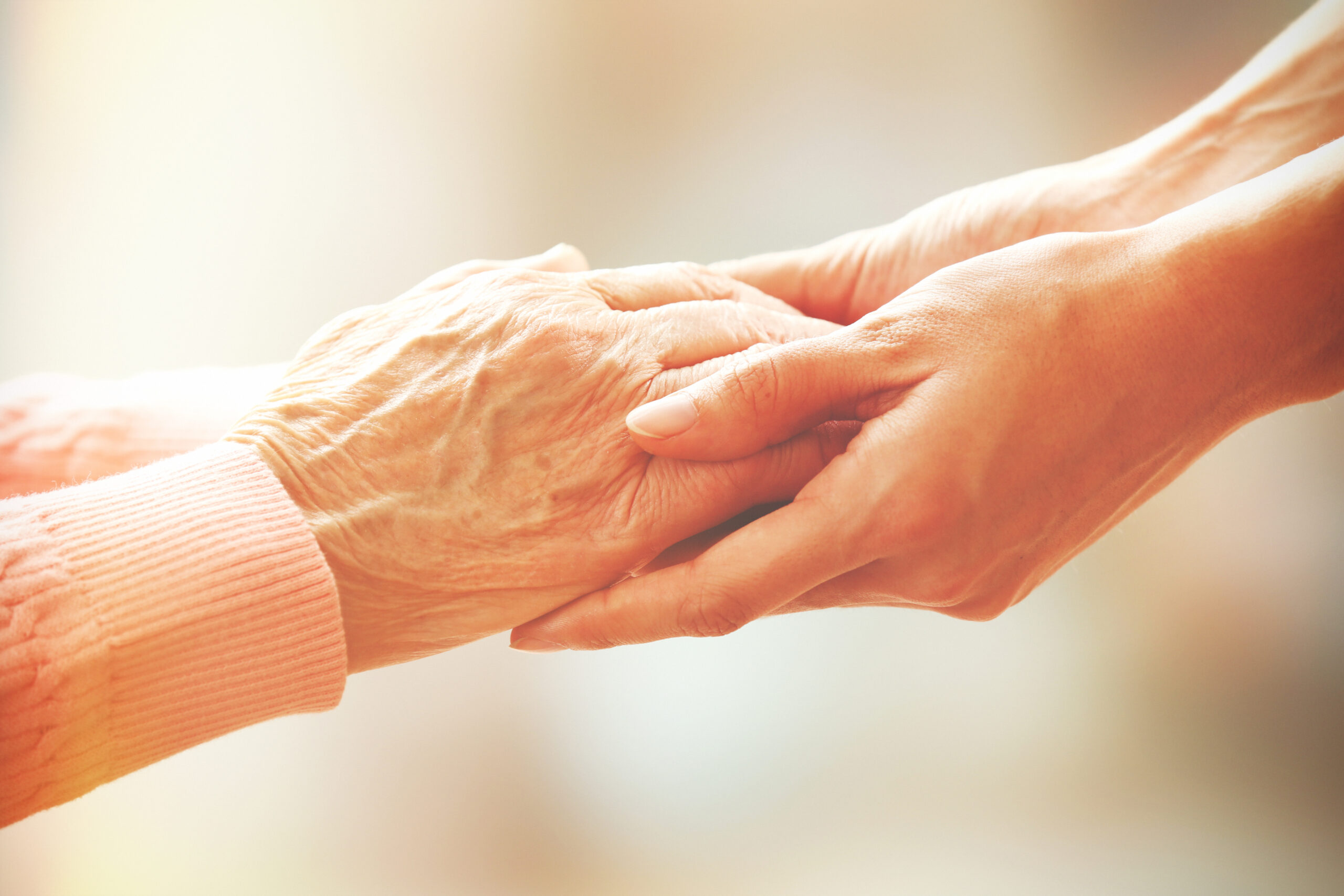 A pair of holding hands. One elderly hand and younger hands