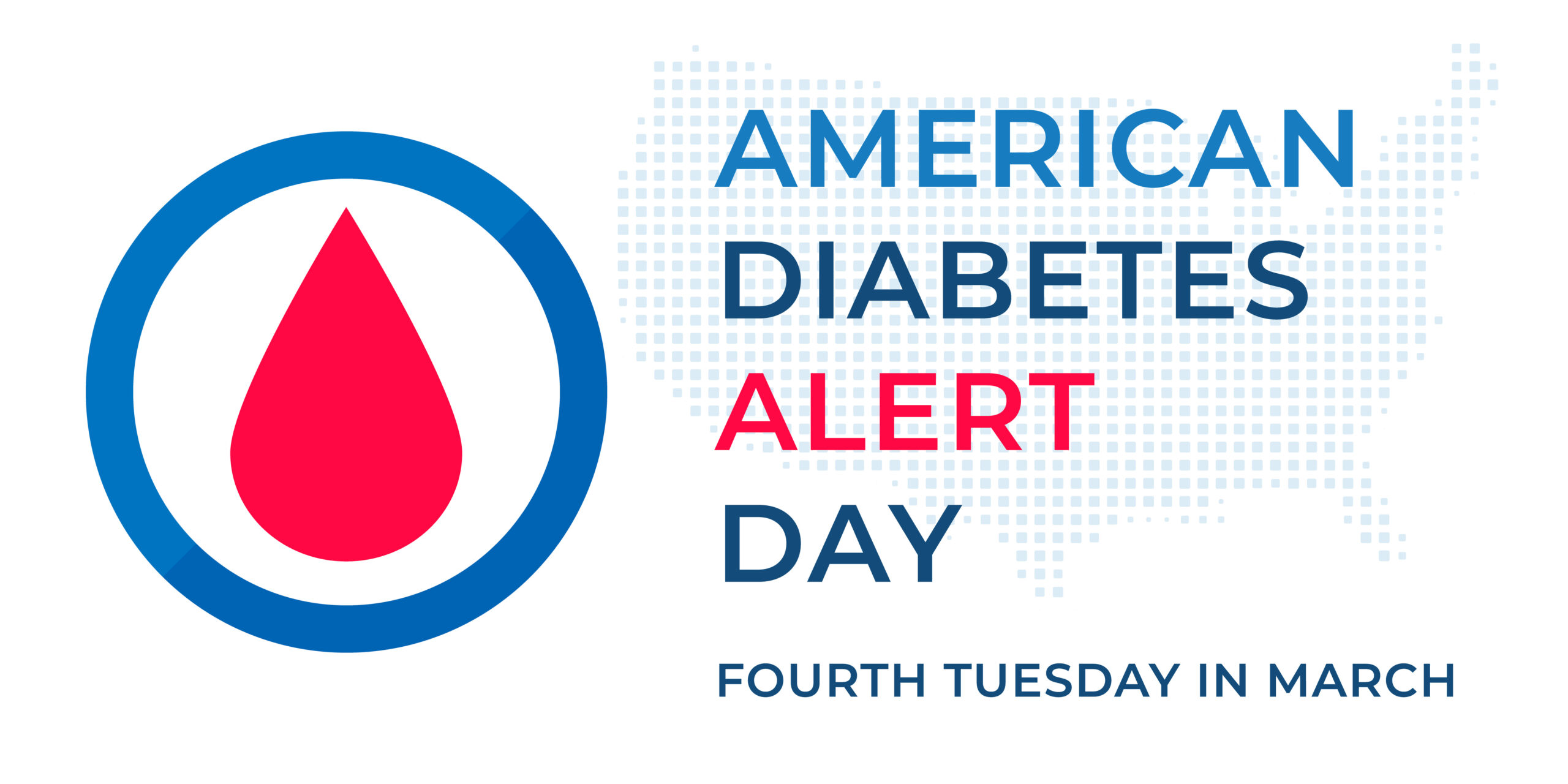 American Diabetes Alert Day graphic with diabetes symbol with a blue round frame.